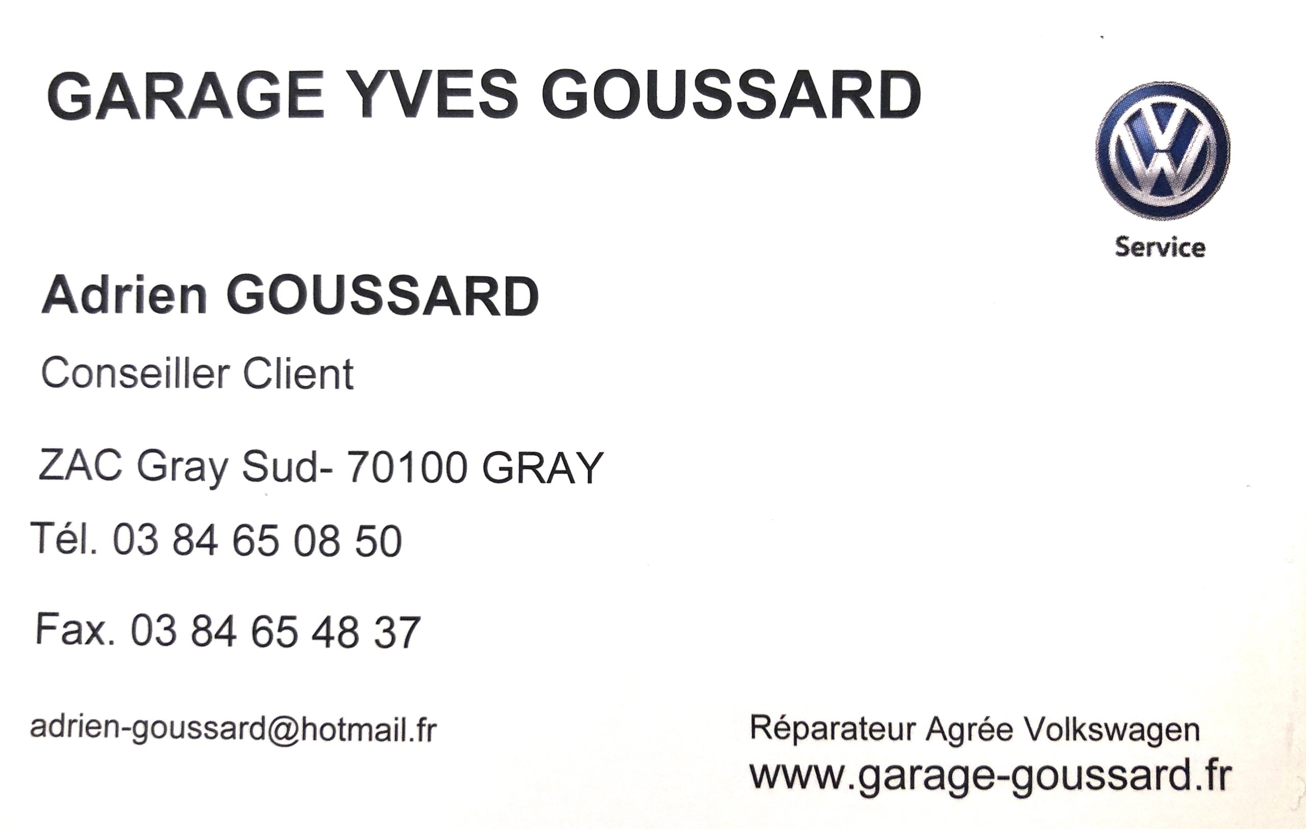 Carte du garage Goussard